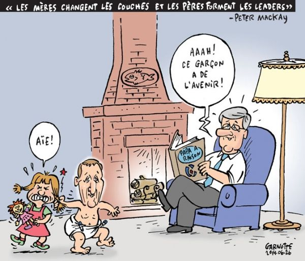 Les caricatures de Garnotte: «Les mères changent les couches et les pères forment les leaders» —Peter MacKay