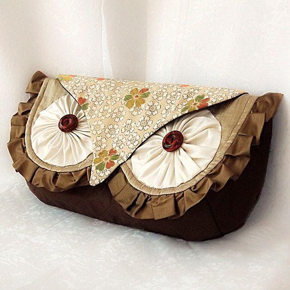 Silk Owl Clutch Bag Luxury Silk with Vintage Kimono by KichiKimani, $94.00