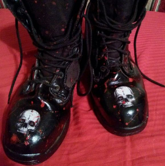SWAT BOOTS! ZOMBIE RESPONSE TEAM SWAT BOOTS! ZOMBIE RESPONSE TEAM!  inspired  by Molly Wimpey your POSHER!!! Make me an offer I can't refuse then go kick some ZOMBIE butt!!!!! Repurposed Shoes Combat & Moto Boots