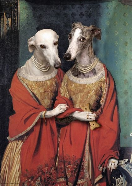 """Greyhound Spinster Sisters,"" by Valerie Leonard.  If you want famous paintings morphed with dog paintings, Valerie's your artist!  This is clearly the most popular work here at the Beer Goggles Art Gallery, and the number of reposts and likes tell the tale!"