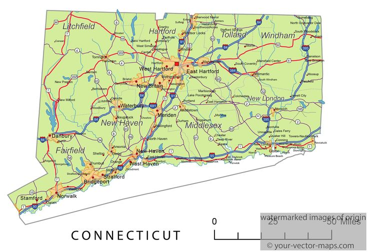 Connecticut State Route Network. Connecticut Highways Map