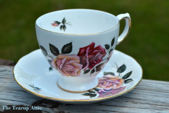 Royal Vale Teacup and Saucer With Pink And Red by TheTeacupAttic