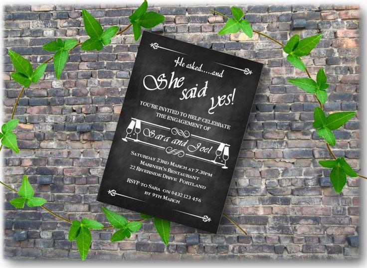 Engagement Invitation DIY Printable She Said Yes Invitation card chalkboard rustic invitation engagement party invitation printable download by BootifulLabels on Etsy