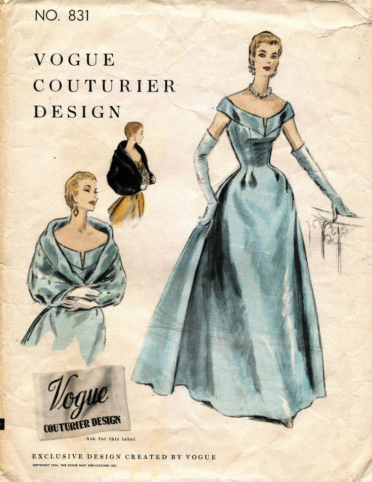 1950's VTG VOGUE Couturier Design Evening Dress & Cape w/Label Pattern 831 14 wedding evening gown shawl