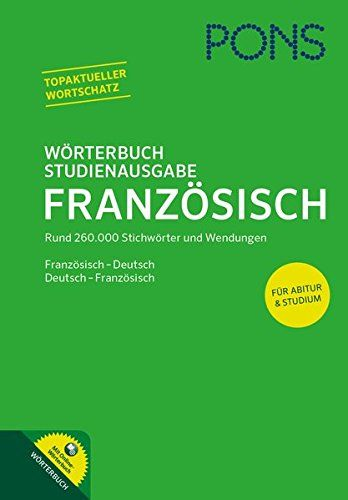 PONS wörterbuch studienausgabe Französisch : Französisch - Deutsch / Deutsch - Französisch | 410.01 DICO