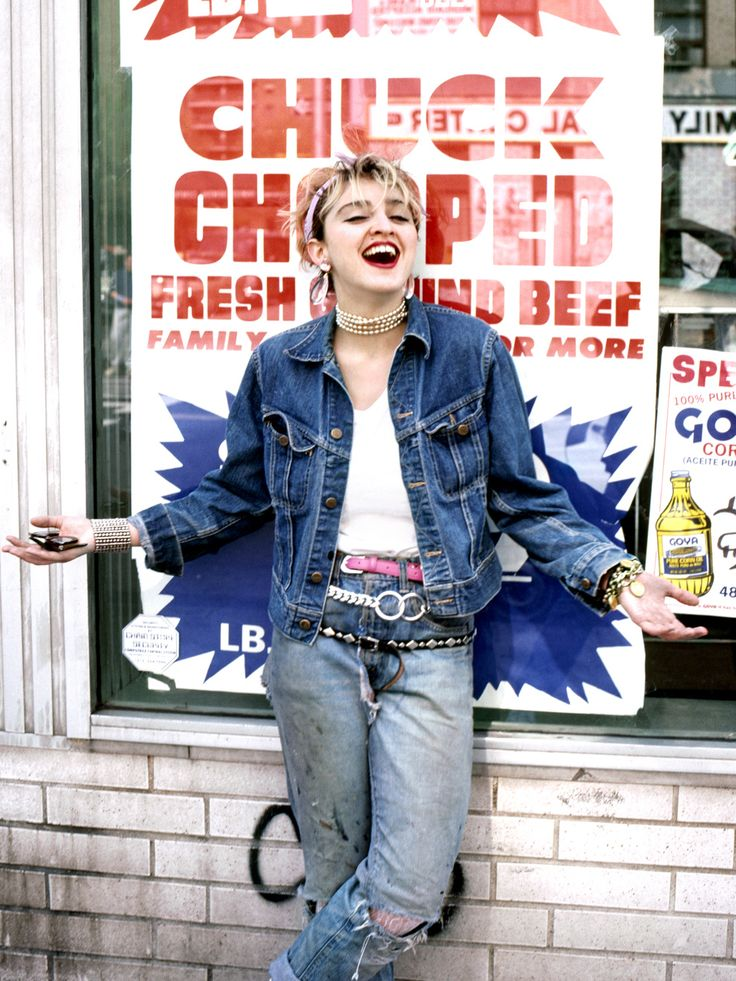 Here is an example of Madonna in the 1980s, wearing jeans which since the 60s and 70s had become part of high fashion. Distressed and acid washed jeans were very popular during this time as well, which Madonna is sporting.