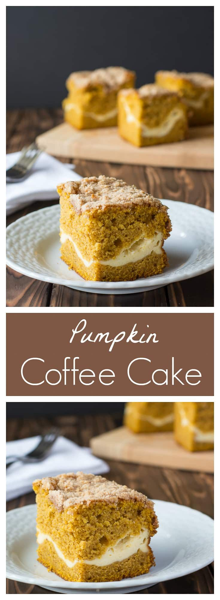 Pumpkin Coffee Cake layered with cream cheese and crispy streusel topping! | Kitchen Gidget