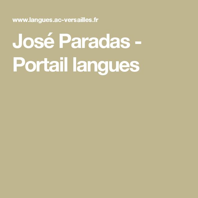José Paradas - Portail langues