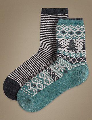 2 Pair Pack Thermal Ankle High Socks | M&S