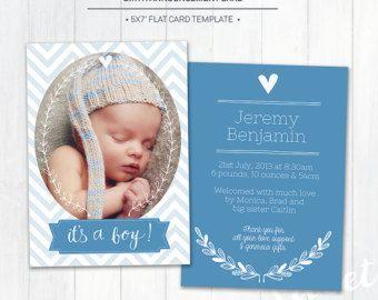5 x 7 nacimiento anuncio plantilla (aviso del bebé) - plantilla de Photoshop para fotógrafos (BA1B) - descarga instantánea