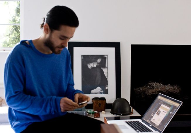 Jared Leto in his home, where he currently runs all his businesses.