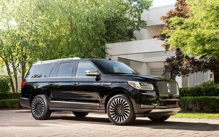 Download imagens Lincoln Navigator, 2018, SUV de luxo, preto Navigator, Os carros americanos, Lincoln