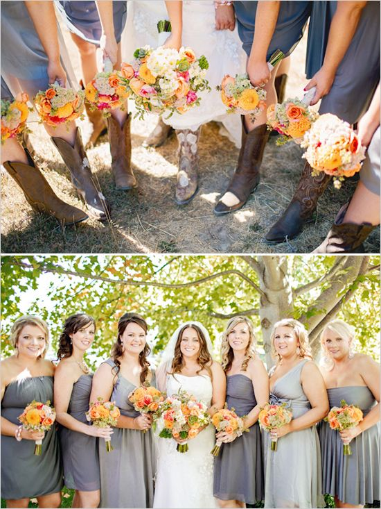 Yellow and Gray Bridesmaid Dresses with Cowboy Boots