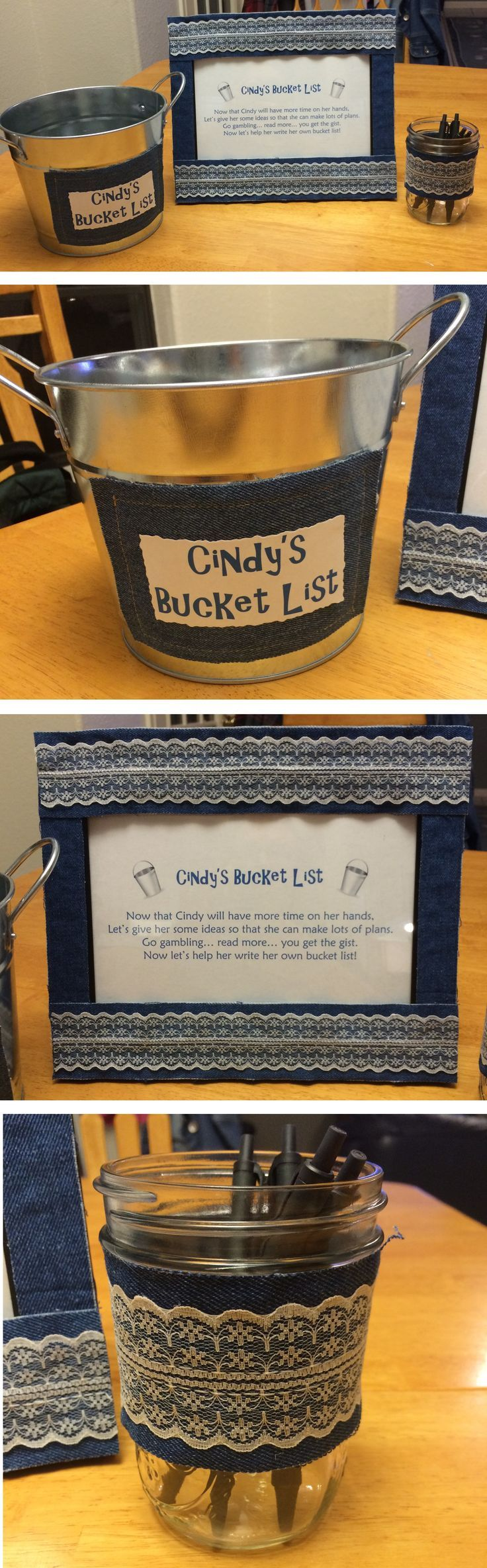 Retirement Party Idea - Bucket List! Decorate a bucket for guests to fill with ideas for the retiree to do with their new found freedom!