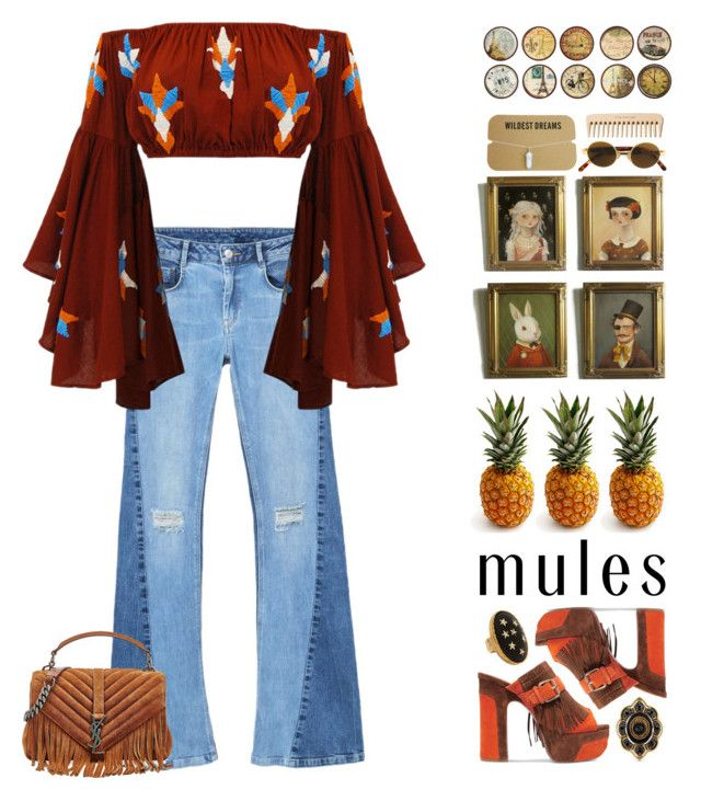 """""""Mules"""" by doga1 ❤ liked on Polyvore featuring MANGO, Ash, Yves Saint Laurent, Gucci, Allison Daniel, Black Apple, INC International Concepts, Moschino and The Body Shop"""