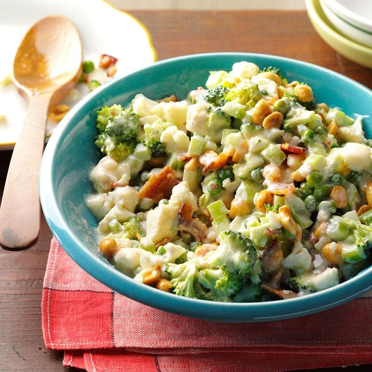 Veggie Chopped Salad Recipe -My husband's aunt gave me this recipe back in the '80s, and it's been a staple at our house ever since. I like to make it a day ahead because some time in the fridge makes it even better. Be sure to save yourself some leftovers, too. —Madeline Etzkorn, Burien, Washington