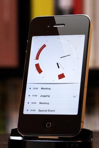 iPhone clock app > Idée de représentation pour le programme définit par le visiteur.  Plutôt qu'un planning rectangulaire classique pourquoi ne pas partir sur un truc comme ça?