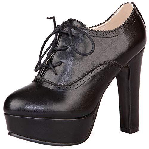 Women/'s Retro Talon Haut Bloc Chaussures Bout Rond Lacets Plateforme Escarpins Bottines