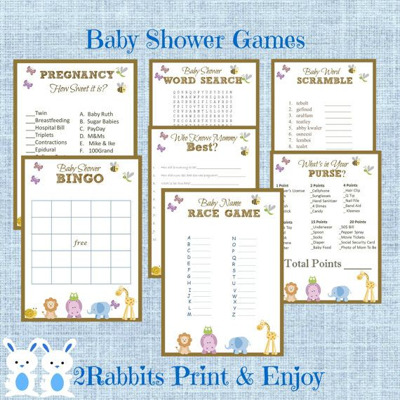 baby shower games package 7 printable games name race bingo word