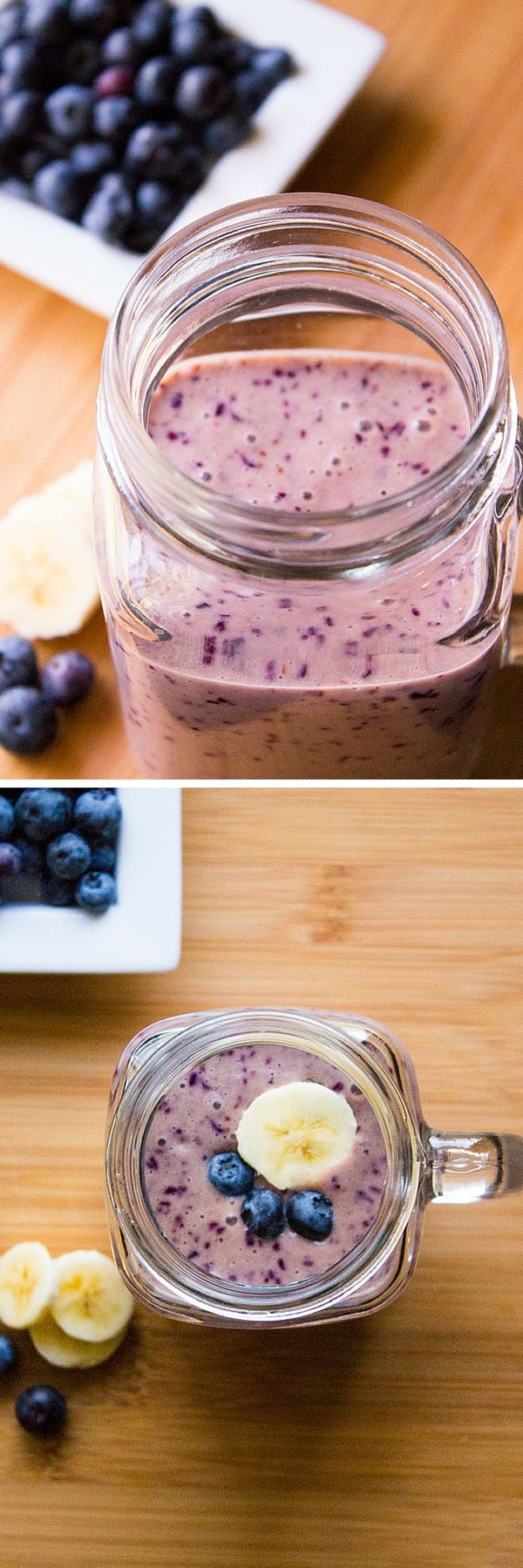 Blueberry Banana Smoothie. Thick & creamy, tastes delicious & totally healthy - have this smoothie for an on-the-go breakfast or healthy snack!