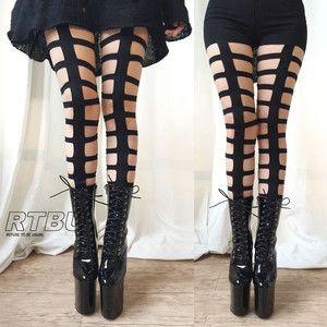 RTBU Gothic Punk Rock Bondage Strappy Laser Cut Cage Legging Show Dance Club