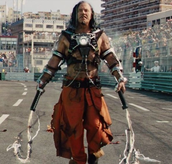 Whiplash (Mickey Rourke) in Iron Man 2.  The guy's out for some hardcore revenge.  And his bird.