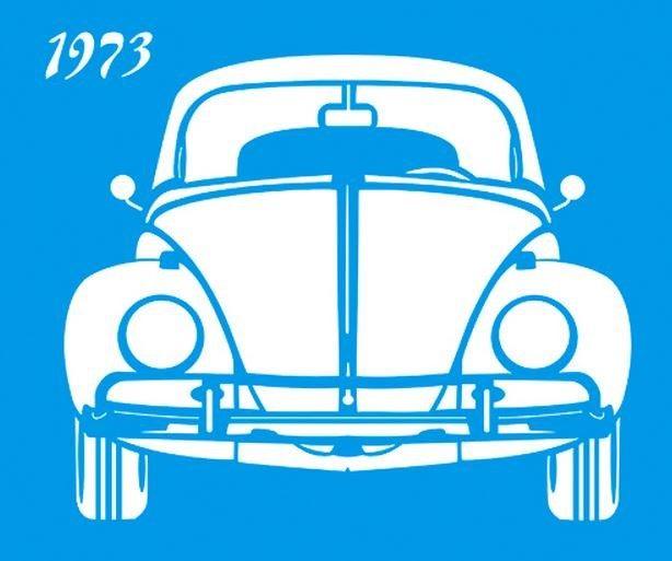 Stencil de Fusca 1973 17 x 21cm - STM 185 Litoarte - Stencil 17 x 21cm - Stencil ou molde vazado - Empório Janial