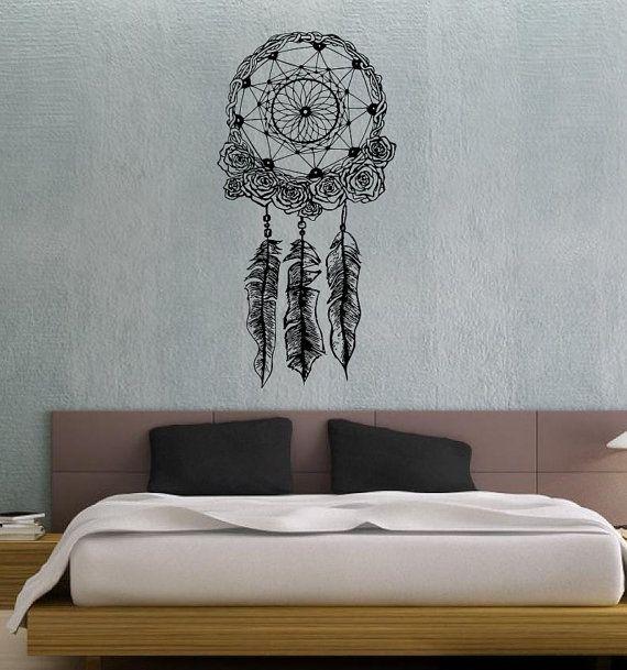 Capteur de r ve dreamcatcher plumes articles m nagers mur for Autocollant decoration murale