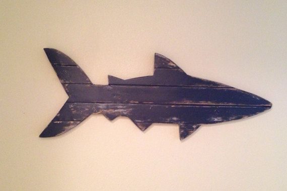 Distressed Pallet Shark rustic beach decor by NCSustainableStyle