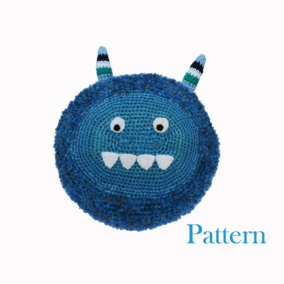 Crochet Monster Pillow Pal Cushion Softie Pattern by roamingpixies