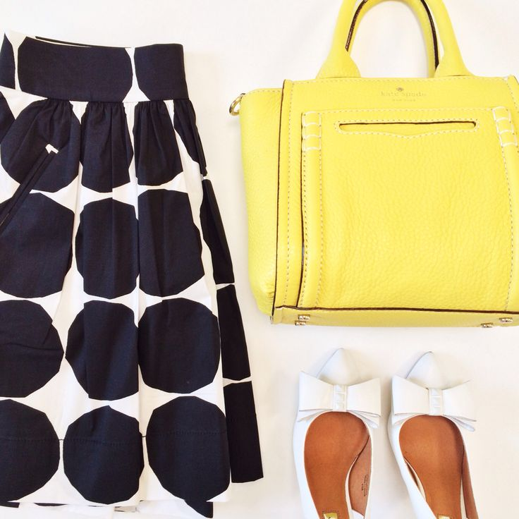 Big dot skirt , yellow purse, white bow pumps // More outfit layouts here: http://www.stylishpetite.com/search/label/Outfit%20Layouts