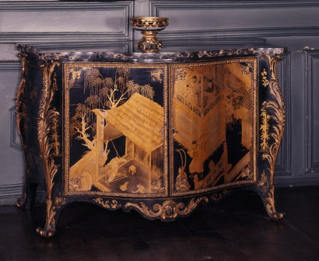 Lacquer Commode With Oriental Scenes And Ormolu Mounts By Pierre Langlois  C.1760u0027s. One