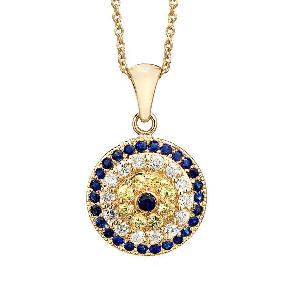 Yellow Gold Evil Eye Necklace  Evil Eye Charm by BinahJewelry, $750.00