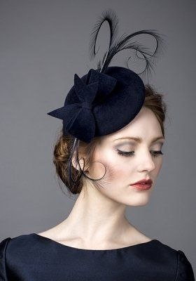 Luxury fascinators and milineries   R14W19 - Navy fur felt pillbox with navy pheasant feather curls