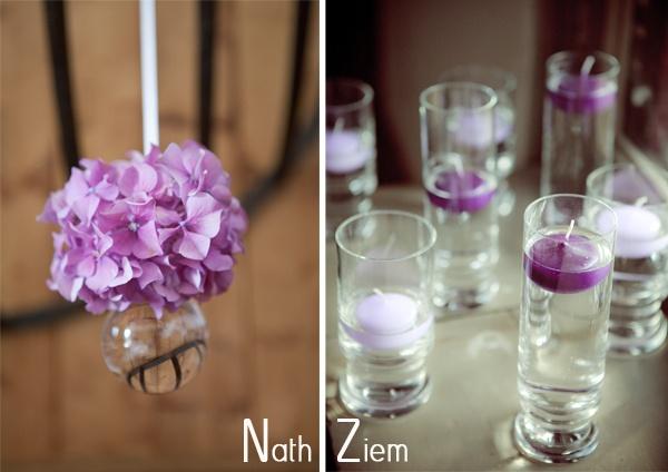 idée pour accrocher au tryticavec goutte d'eau    deco_table_mariage_violet by nath*nziem, via Flickr