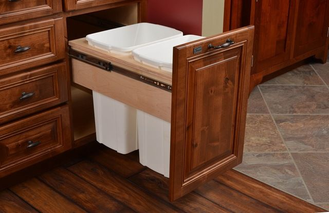 """Century Components 35 Qt White Double Top Mount Pull Out Waste Bin - Birch, 15"""" traditional kitchen trash cans"""