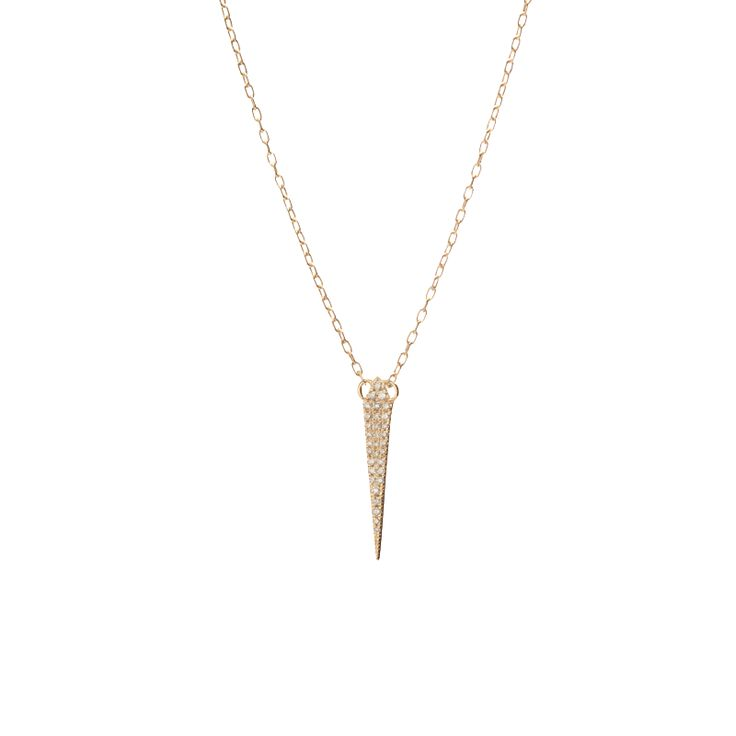 "Beautiful and striking the Small Sword Pendant with White Pavé Diamonds features a stunning eye catching design and delicate pavé white diamond detail.   14K gold Available in yellow, white or rose gold Necklace measures 16"" total  Width 4.5MM (appro"