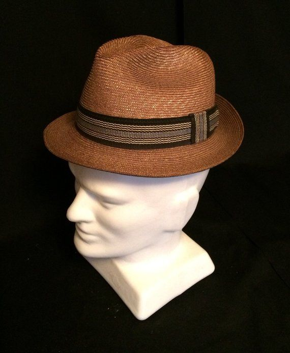 abfb656946db1 60s 70s Vintage Flicker Milan Straw Fedora by Adam Size 7