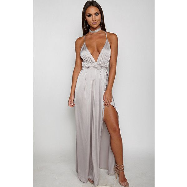 Lita Maxi Dress Silver ($56) ❤ liked on Polyvore featuring dresses, silver maxi dress, silver dress, maxi length dresses and maxi dresses