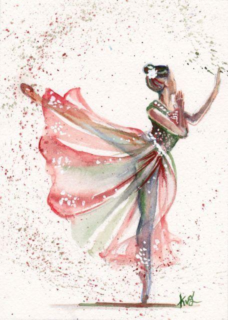 Christmas Gift/ Original Watercolor Painting Christmas Ballerina Art/Decoration…                                                                                                                                                                                 Plus