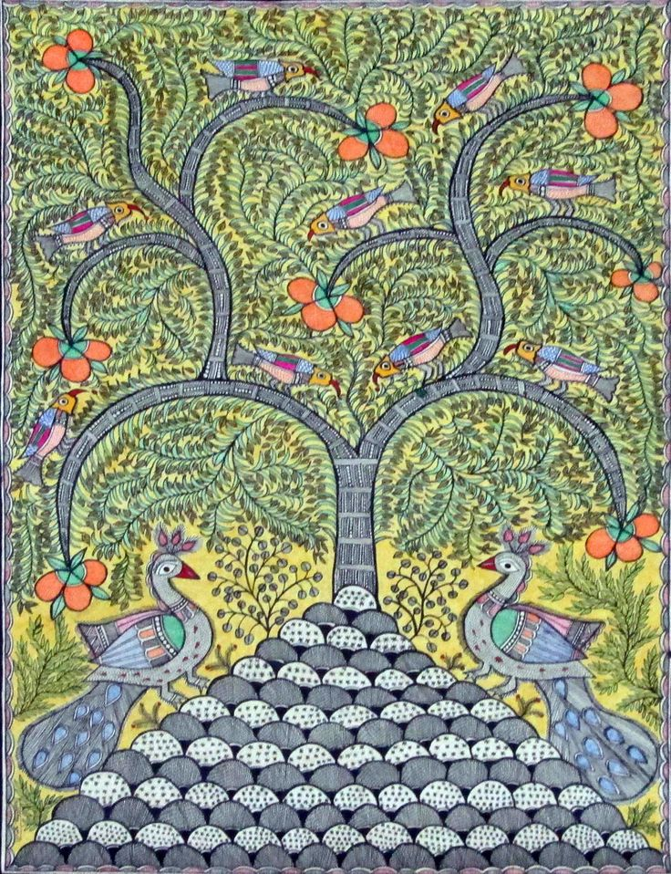 Madhubani paintings: Peacock Ii (Figurative artwork)- artworks for sale