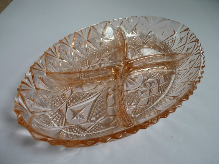 Intricate Pink Depression glassware oval divided dish