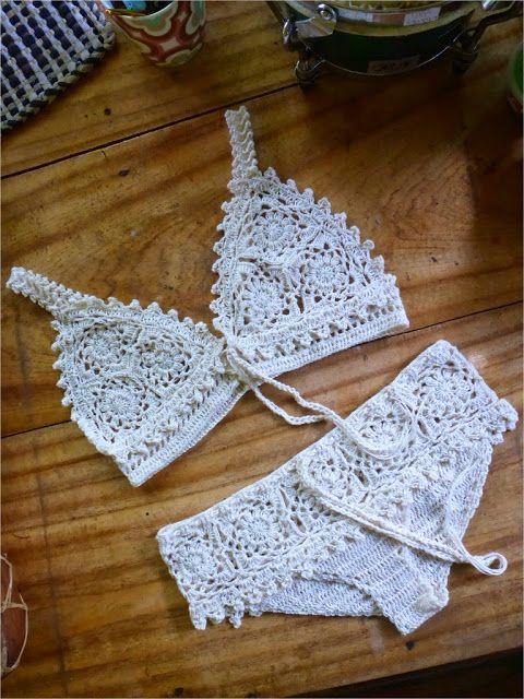 This is beautiful....cute for a honeymoon.   FATIMA CROCHET: bikini
