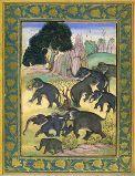 Éléphants s'ébattant École moghole, style sub-impérial, vers 1630 215 x 150 mm (page entière : 383 x 245). Gouache sur papier. Cadre floral doré sur fond bleu.  Déjà dans le Babur-name peint à la fin du XVIe siècle pour l'empereur Akbar figurait une peinture non signée, destinée à illustrer le chapitre consacré dans ses Mémoires par l'empereur Babur à la faune indienne, et qui représentait des éléphants sauvages en train de s'ébattre.