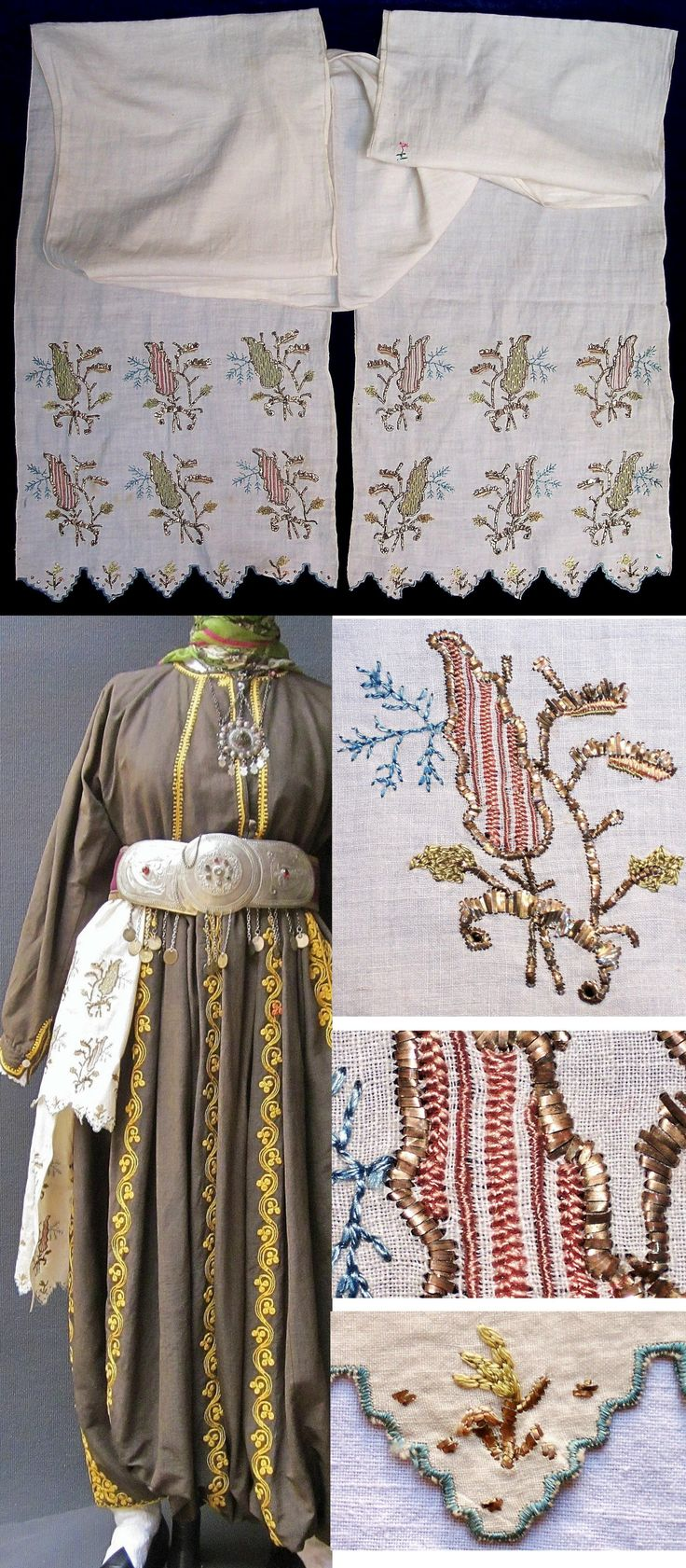A woman's 'uckur' (waistband/sash) with embroidered ends.  From western Anatolia (probably Bursa), late 19th c.  The embroidery is 'two-sided' (identical on both sides of the fabric) and is executed in both multi-coloured silk and 'tel kırma' (motives obtained by sticking narrow metallic strips through the fabric and folding them.).  (Inv.nr. brdw037 - Kavak Costume Collection - Antwerpen/Belgium).