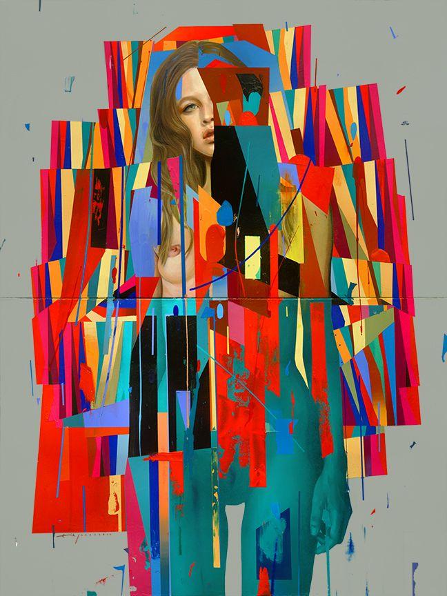 "Erik Jones / Dipped Suit / Colored Pencil, Acrylic, Wax Pastel / 30""x40"" / 2014"