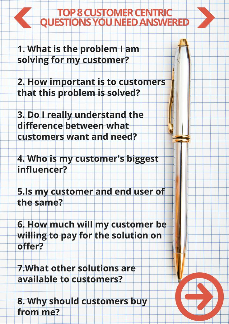 Top 8 customer centric questions you need have answered.