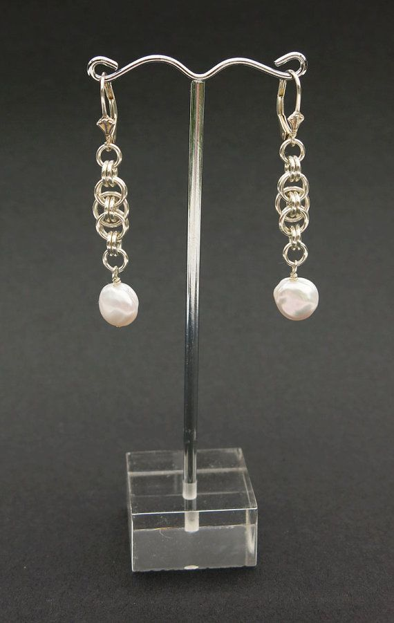 Helm Chainmaille & Pearl Drop Earrings by SweetLavenderillie