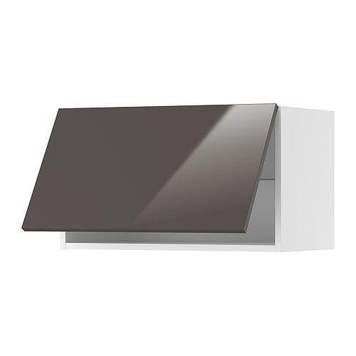 AKURUM Wall cabinet horizontal - white, Abstrakt high gloss gray, 30x15