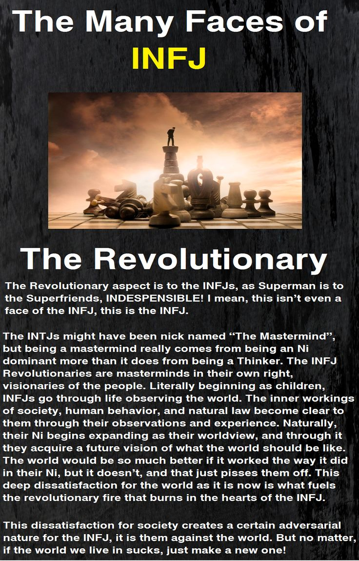 The many faces of the Infj: Revolutionary